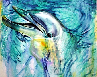 Dolphin art, dolphin print, animal art, underwater art, dolphin watercolor, giclee print nature, dolphin painting, dolphin, animal painting