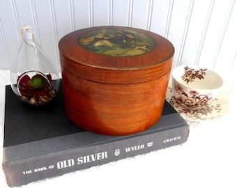 English Humidor Biscuit Box Wood Veneer Aluminum Liner Vintage 1930s Cries Of London Lidded Box
