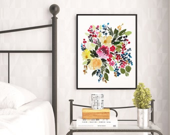 Hand-painted Watercolor Print - il Gailey floreale: A Bright Floral Print with Modern Watercolor Florals