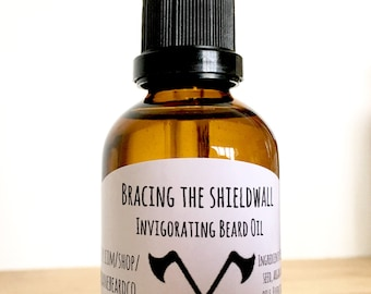 Natural Beard Oil. Gift for man. Viking beard care. Bracing the Shieldwall. With vanilla and tea tree essential oils, Beard Product,