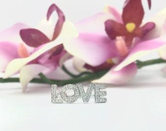 "0.30CTW ""LOVE"" Diamond Ring 18K White Gold"