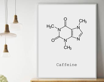 Caffeine Molecule, Coffee Print, Minimalist Print, Chemistry Art, Chemistry Poster, Caffeine Print, Science Poster, Coffee Printable