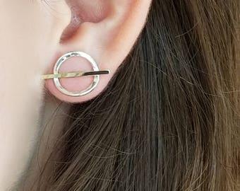 Handmade sterling and 14k gold earrings
