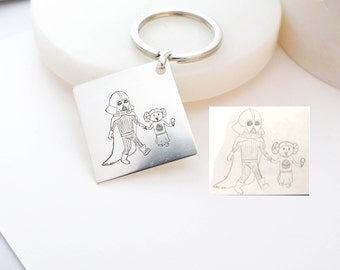 Child's Artwork Keychain • Children Drawing Jewelry • Meaningful Personalized Gift for Dad and Grandpa • Father's Day Gift • CM26
