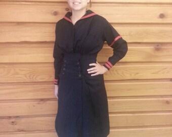 "1910s WWI Navy Dress / Bathing Suit Edwardian (26"" Waist)"
