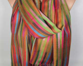 Mother's Day Gift Pashmina Striped Scarf Travel Gift Fall Winter Scarf Shawl Oversized Scarf Gift For Her Gift For Mom Gift For Women