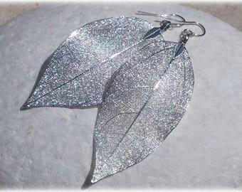 Silver Leaf Earrings, Silver Drop Earrings Statement Jewelry Long Dangle Earrings Natural Jewelry Bridal Earrings Mothers Day Gift for women