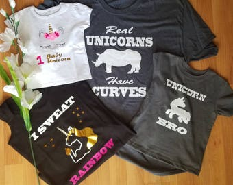 Unicorn Family - Bday Girl - Dad Unicorn - Unicorn Bro - Unicorn Mom