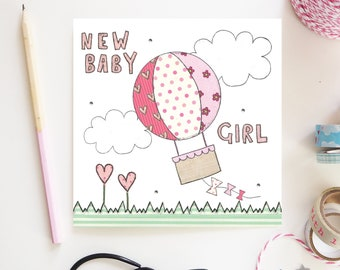 New Baby Girl Card New Baby Girl Pink Hot Air Balloon cute Design Hand illustration and printed in the UK