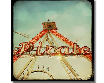 Pirate Decor Kids Room, Carnival Ride Photography, Red Gold Lights Fair Midway, Childrens Boys Wall Hanging, TtV Pirates Retro Sign Print