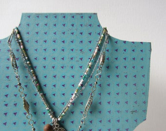 SALE One Necklace Bust Reversible - Turquoise w Purple Triangles - Recycled Book Necklace Jewelry Display - Ready to Ship