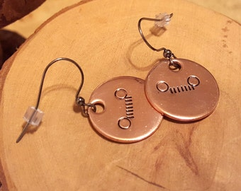 Jeep grille and headlights hand stamped and polished copper earrings with gunmetal french hook earwires OIIIIIIIO