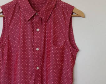 in the pink...ladies button front loose fit dress with side seam pockets in upcycled and vintage fabric
