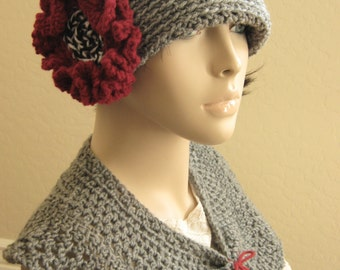 1920s Style Crochet Cloche Hat, Shawl,Flapper Hat,Gatsby Hat