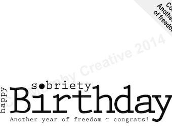 DOWNLOAD, Sobriety Birthday Card, Happy Sobriety Birthday, Sobriety, Recovery, Sobriety Birthday Card, C L Murphy Creative