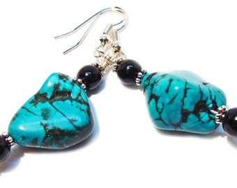 Earrings of Turquoise Nuggets with Black Jasper Gemstone Beads