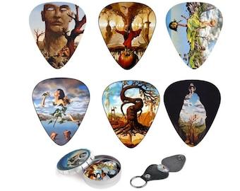 Guitar Picks - Cool guitar picks Surreal Artwork By Salvador Dali Follower - guitar accessory Gift -12 Picks Set - Best Guitar Art Gift