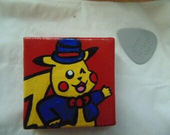 Handmade Pikachu Magnet, Pikachu's Jukebox, Pokemon, Tuxedo, Yellow, Red, Blue