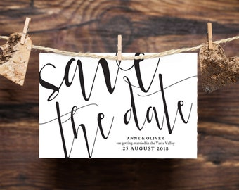 Rustic save the date template, Editable save the date cards, Black and white save the date, Minimal save the date, Printable save the dates