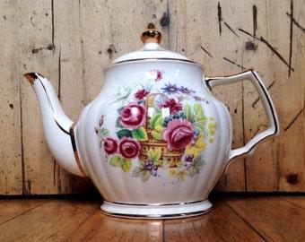 Sadler 'Basket of flowers' teapot made in England, vintage china