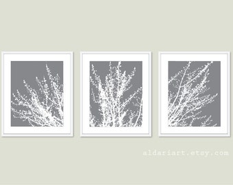 Modern Spring Tree Branches Prints - Set of 3 - Woodland Home Decor - Slate Grey - Multi Panel Tree Triptych Wall Art - Gray and White Tree