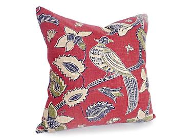 Red Country Pillow, Bird Pillow Covers, Farmhouse Pillows, Red Blue Pillow, Red Floral Pillows, Dark Red Navy Cushions, Zipper,  18, 20