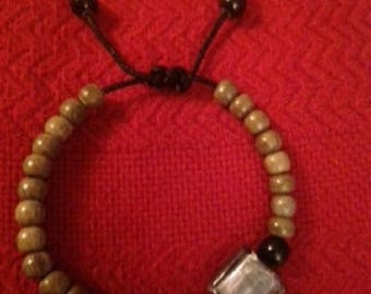 Lampwork Glass and Wood Bead Bracelet