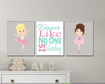 Girls ballerina wall art.  Ballerina Nursery Art for Girls Room.  Suits Pink Nursery Decor.  Girl wall art prints - H946