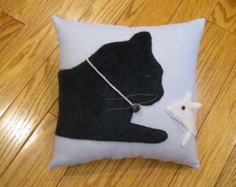 Furry Kitty Cat and Mouse Pillow