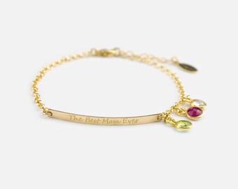Mothers gift bridesmaid Personalized Birthstone bracelet for mom custom birthstone bracelet new mom bracelet engraved bracelet name bracelet