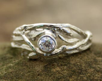 """Reserved for """"N"""" Woodland Branch Engagement ring with opal, twig ring, branch band, forest jewellery, organic engagement, boho ring, rustic"""