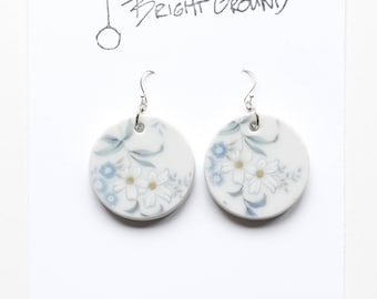 Porcelain White Flower Earrings, Hand-cut Ceramic and Silver Wire