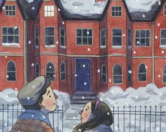 The Rental Original Watercolor Illustration Painting