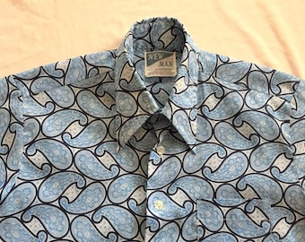 Vintage 70s New Man Light Blue Paisley Print Short Sleeve Shirt Medium