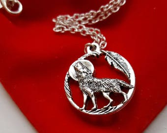 SALE Wolf necklace werewolf gift howling wolf jewellery wolf jewelry wolf chain with feather wolf howling at moon wolves jewelry wolf gift