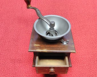 Vintage WHC Coffee Grinder Coffee Mill Wooden Hand Crank Home Decor
