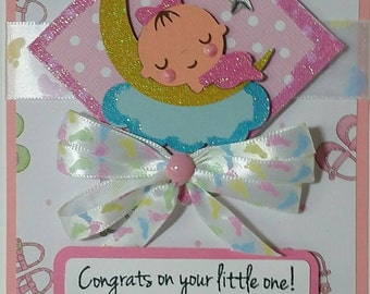 Handcrafted Baby shower  (baby girl ) card