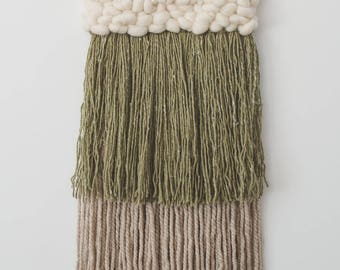 Green and Grey weaving with Ivory roving wool