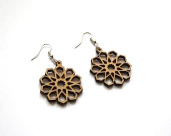 Wooden earrings, geometric flower earing, bohemian jewelry, hippie jewel, natural wood jewellery, oriental islamic art style, made in France
