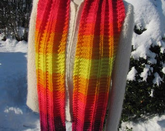 Hand knit Scarf. Rainbow scarf. Scarf with pin. Scarf with bracelet. Bright and Sunny knit scarf. Long Knit Scarf.