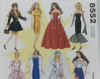 Mccalls 8552 Fashion Doll Wardrobe Pattern 11 1/2 inch Fashion Doll Wedding Gown Dress Coat Stole Top Skirt