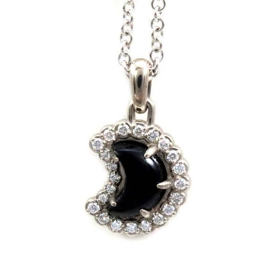 Onyx and Diamond Crescent Moon Pendant - 14k Palladium White Gold - Ready to Ship