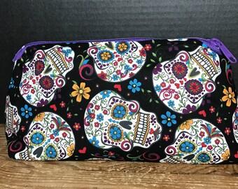 Calavera, Skull, Day of the Dead, Sugar Skull Bag   make-up bag, fun bag, money bag, cosmetic bag, Plum & Khloe Designs bag