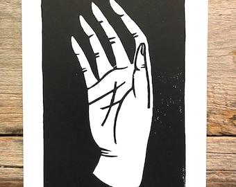 Hand no. 2 | linoleum block relief print of hand