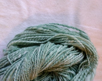 Wool 100 %,  hand spun, hand dyed with comercial dye,