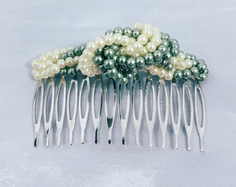 Green and White Hair Comb, Beaded Hair Accessory, Womens Hair Accessories, Wedding, Bridal Accessory, Bridal Shower, Woman, Sparkle