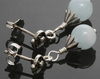 CLEARANCE. Genuine Aquamarine Earrings. Sterling Silver. Small Drop Earrings. March Birthstone. Post Earrings. s14e022