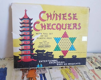 Vintage 1960s kitsch  Chinese Checkers game board in box with plastic pegs nursery decor cardboard complete Spears games
