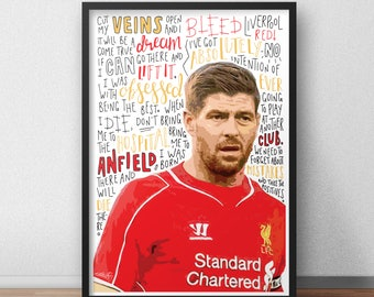 Steven Gerrard print / poster hand drawn typography quotes football sport print / poster