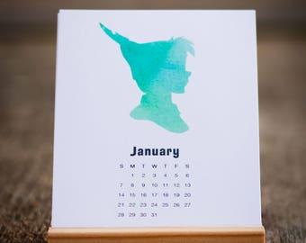 2018 desk calendar, disney, watercolor calendar, disney calendar, mini desk calendar, desk calendar with stand